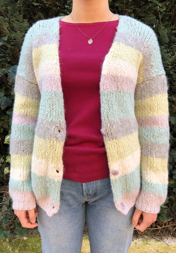 Alpaka-Strickjacke - multicolor